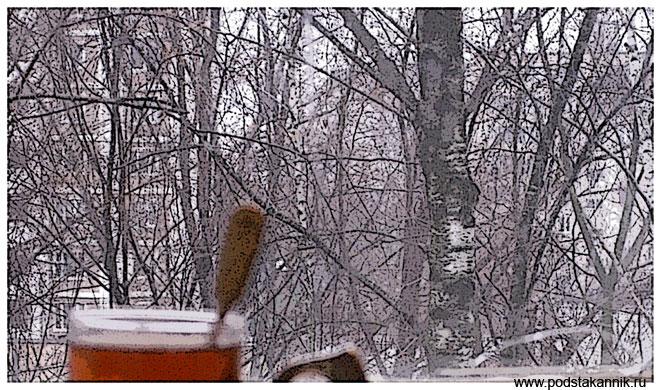 советский мельхиоровый подстаканник, окно и березы